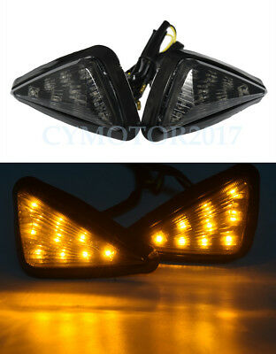 Pair Universal Motorcycle Flush Mount LED Triangle Turn Signal Indicator Light