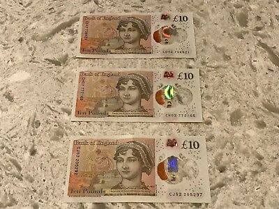 3 C series Bank Of England £10 Ten Pound Note New issue Plastic / Polymer
