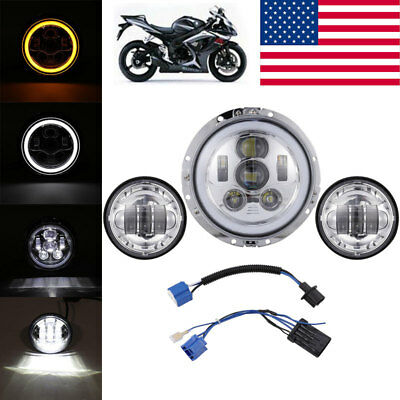 """7"""" Projector Headlamp LED Headlight Passing Lights Fit Harley Touring Road King"""