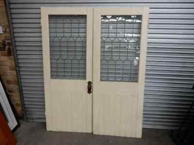 DOUBLE DOORS – TIMBER FRENCH DOORS WITH ART DECO LEADLIGHT GLASS, rg1