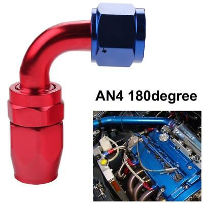 Universal AN4 180degree Fuel Swivel Oil Hose End Fitting Adapter Aluminum R7I2