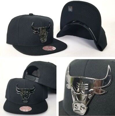8ee36db933e Mitchell   Ness NBA Black Metal Badge Logo Chicago Bulls snapback Hat Cap