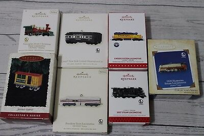 Lot Of 7 Lionel Trains Hallmark Keepsake Ornaments MINT Condition With Boxes