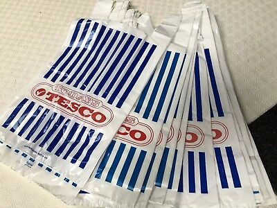 20 TESCO shopping bags VINTAGE PLASTIC BAGS  1990s supermarket