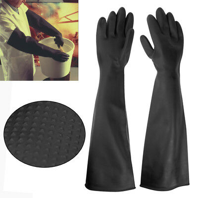 1/2 Pairs 60CM Anti Chemical Latex Gauntlets Long Gloves Rubber PPE In Chemical