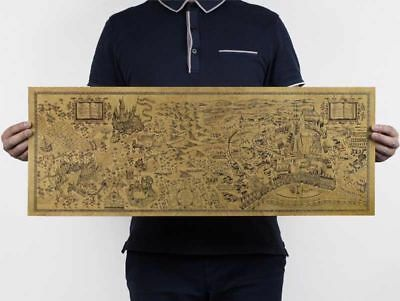 72x26cm Free shipping, Harry Potter Magic world map Famous view/kraft paper/Cafe
