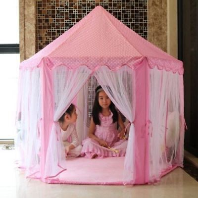 Princess Castle Tulle Play House Indoor Outdoor Kids Game Play Tent 140x135cm US