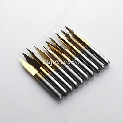 30 Degree 0.1mm Tip Titanium Coated Carbide PCB Engraving Bits CNC Router Tool