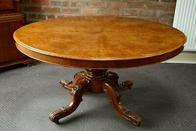 Victorian Pollard Oak Loo Table Tangentially Veneered Antique Tip Top Table