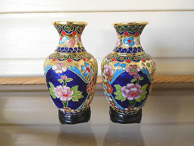 Chinese Vintage Cloisonne Vases With Stands 13cm Original Box