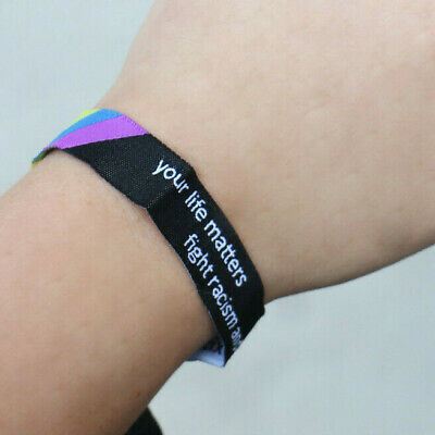 fight racism and sexism  Festivalband Armband Stoffband Pride CSD Festivalbänder