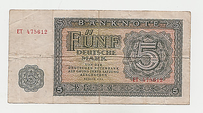 DDR 5 Mark 1955 Banknote Papiergeld Deutsche Notenbank Berlin
