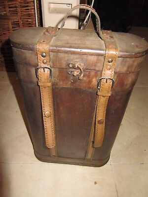 Vintage Wood And Leather Two Bottle Wine Liquor Carrying Case Box Old World