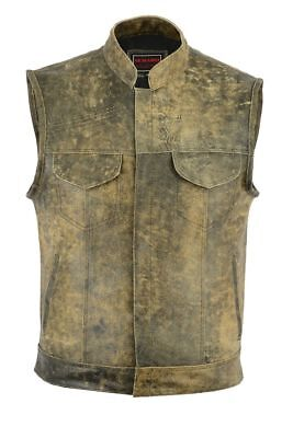 b0b543ed25 Men Distressed Real Leather Son Of Anarchy Motorcycle Waistcoat - Brown Vest