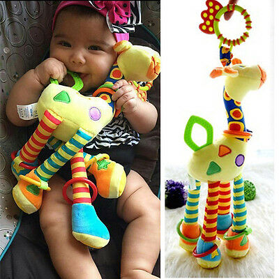 Infant Baby Development Soft Giraffe Animal HandbellsIUattles Handle Toys IU