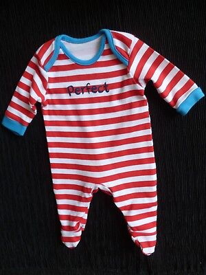 Baby clothes BOY premature/tiny<6lbs/2.7kg red/white stripe babygrow SEE SHOP!