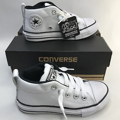 NEW KIDS TODDLER CONVERSE CHUCK TAYLOR ALL STAR WHITE No Time To Lace Size 11.5
