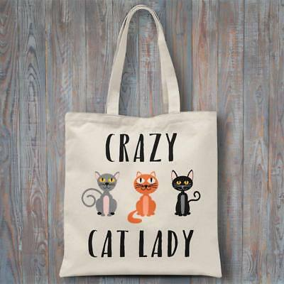 Novelty cotton tote bag - CRAZY CAT LADY calico shopping 37x40cm, long handles