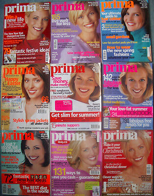Prima magazines 2002, 9 issues complete with uncut dressmaking pattern sheets
