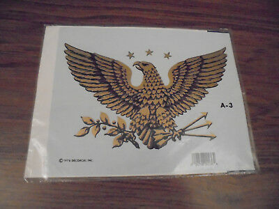 Vintage Decorcal Eagle Patriotic 1978 Hand Painted Decal TOLE PAINTING TRANSFER