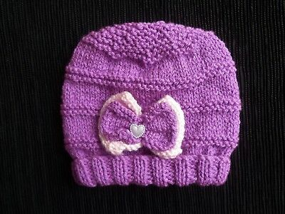 Baby clothes GIRL 3-6m soft professional knitted purple/pink, bow, hat SEE SHOP!