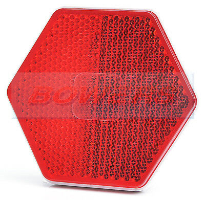 Red Rear Hexagonal Stick On Adhesive Reflector Truck Car Motorcycle Motorbike