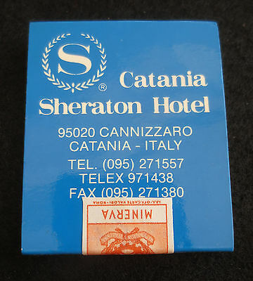 Sealed Stamped MATCH BOOK SHERATON HOTEL CATANIA ITALY Matchcover Wooden Matches