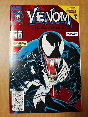 Venom Lethal Protector #1, Red Foil Cover Signed by Mark Bagley! Near Mint! 1993
