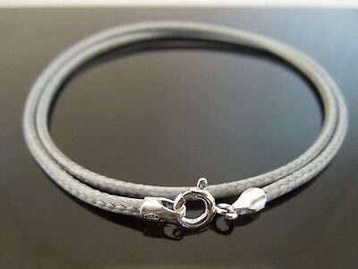 "2mm Grey Waxed Cotton Cord & Sterling Silver Necklace 14"" 16"" 18"" 20"" 22"" 24"""