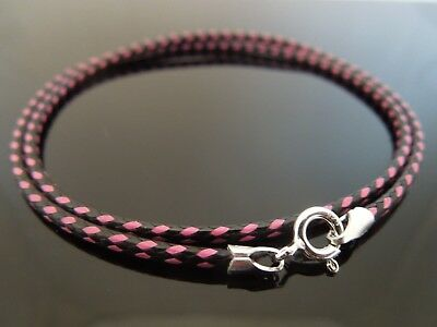 "2mm Black/Pink Waxed Cotton Cord & Sterling Silver Necklace 14"" 16"" 18"" 20"" 22"""