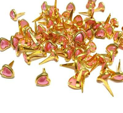 BRADS FOR CRAFTS & SCRAPBOOKING HEART PINK PEARL BRADS 6MM x 8MM APROX 50