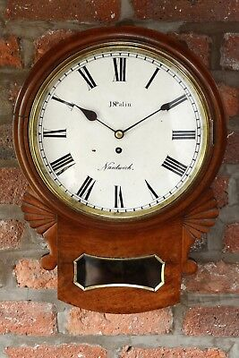 Antique Drop Dial Fusee Mahogany Cased Wall Clock Timepiece J. Palin Nantwich