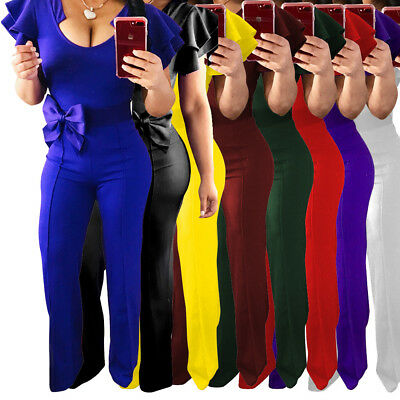 Women Solid Clubwear U Neck Ruffle Sleeve Bodycon Party Jumpsuit&Romper Trousers
