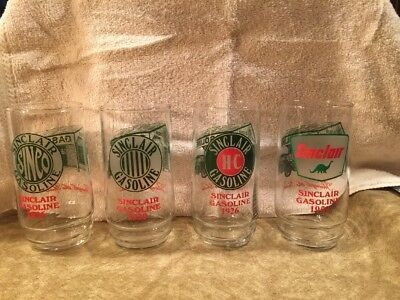 4 Vintage Sinclair Gas Drinking Glasses 1916 1920 1926 1959 Logos