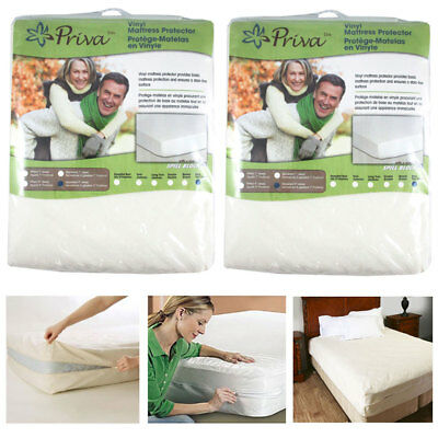 2 Pc King Vinyl Zippered Mattress Cover Protector Dust Bug Allergy Waterproof