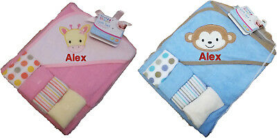 Personalised Embroidered Baby Hooded Towel And Wash Cloths Set any name boy girl