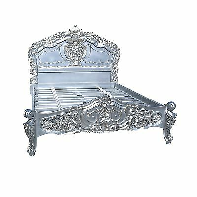 Rococo French Silver Painted 4ft6 Double Wooden Mahogany Carved Bed - MSR01A
