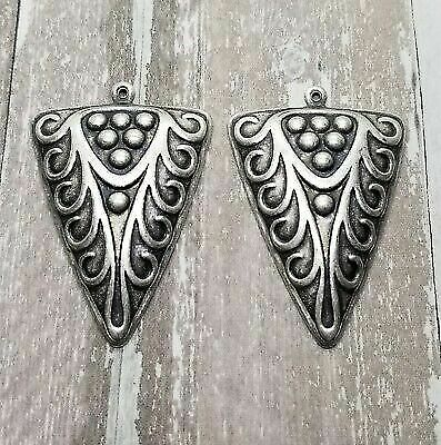 Large Oxidized Silver Ornate Charms (2) - SOS8557