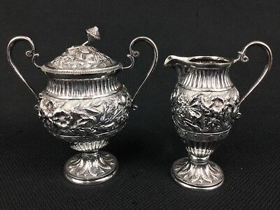 Repousse Sterling Silver Floral Covered Sugar Bowl Creamer Raised Roses Leaves