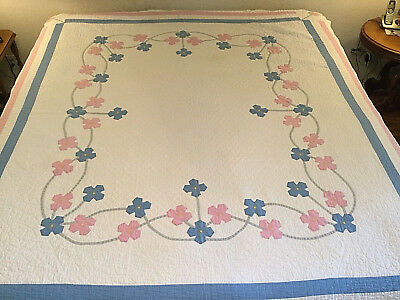 """REDUCED  Vintage Applique Hand Made Quilt Hand Quilted 1930's Large 78"""" x 86"""""""