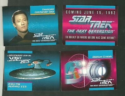 4 1992 Star Trek The Next Generation Impel Inaugural Promo Series Trading Cards