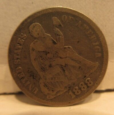 1888 Seated Liberty Dime United States 10 Cents Coin