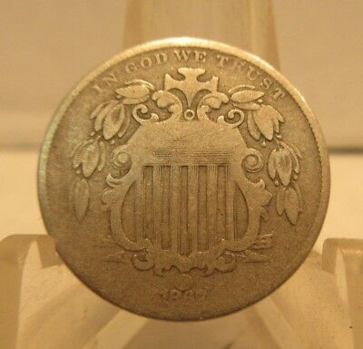 1867 Shield Nickel No Rays United States 5 Cents Coin