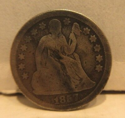 1857 Seated Liberty Dime United States 10 Cents Coin