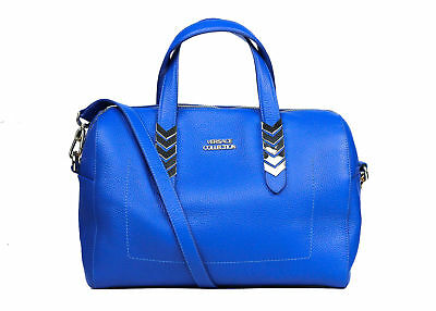 fbbce9fa Versace Collection Blue Pebbled Leather Arrow Top Handle Shoulder Bag~RTL  $850
