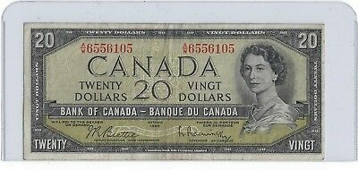 1954 Twenty Dollar Bank Note From Canada