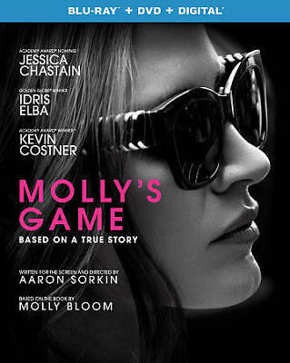 Molly's Game (Blu-ray Disc + DVD + Digital, 2018, 2-Disc Set) NEW Sealed