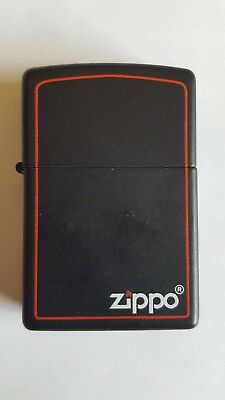 Zippo Black Matte / Logo Border Windproof Lighter