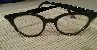 Vtg. SWAN Cat Eye Glasses Black/Yellow White Accent Ladies Frames Rockabilly USA