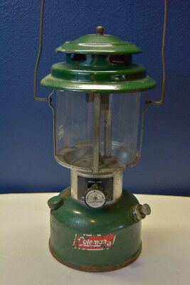 Vintage COLEMAN Camping Lantern Lamp made in USA Model 220H Green Patina